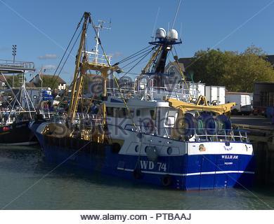 Portsmouth Fischerboote im Dock Stockbild