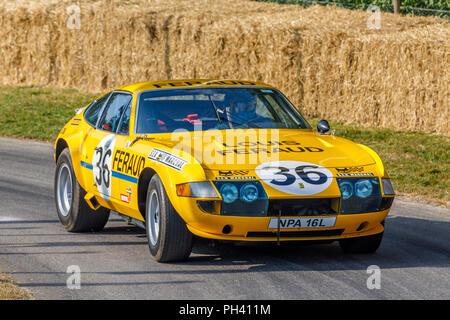 1972 Ferrari 365 GTB/4 DAYTONA Sport Racer mit Fahrer Annette Maurer am Goodwood Festival 2018 von Geschwindigkeit, Sussex, UK. Stockbild
