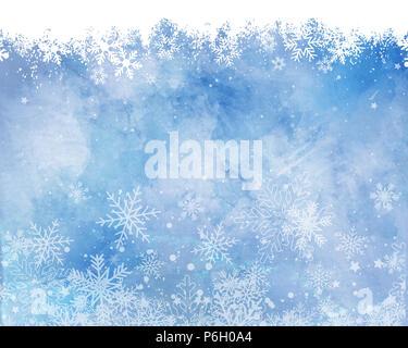 Weihnachten Schneeflocken auf einem Aquarell Textur Hintergrund Stockbild
