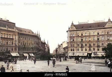 Hotels in Budapest, Straßenbahnen in Budapest, 1905, Budapest, Kerepeser Straße, Ungarn Stockbild