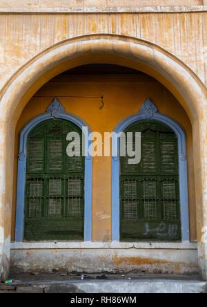 Kaki Haus Fenster, Mekka Provinz, Taïf, Saudi-Arabien Stockbild
