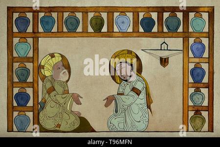 Abu 'Ali al-Husain ibn 'Abd Allah ibn Sina (980-1037), allgemein bekannt als Ibn Sina oder von seinem Latinisierten Namen Avicenna, war ein Persischen Universalgelehrten, der schrieb fast 450 Abhandlungen über eine Vielzahl von Themen, von denen rund 240 überlebt haben. Seine bekanntesten Werke sind das Buch der Heilung, eine große philosophische und wissenschaftliche Enzyklopädie und der Kanon der Medizin, die einen medizinischen Text bei vielen mittelalterlichen Universitäten. Stockbild