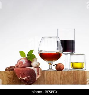 Zutaten für italienisches Essen Rezept Stockbild