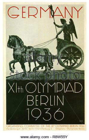Deutschland XI. Olympischen Spiele Berlin 1936 - Vintage Deutsche Poster Stockbild