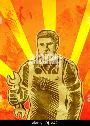 Ein Holzschnitt Stil Bild eines Mannes mit einem Schraubenschlüssel Stockbild