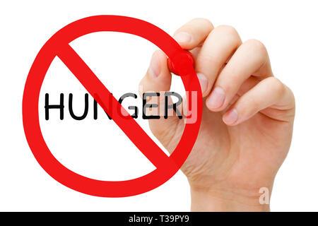 Handzeichnung Hunger Verbotsschild Armut oder Nächstenliebe Konzept mit roter Markierung auf transparente abwischen Board auf Weiß isoliert. Stockbild