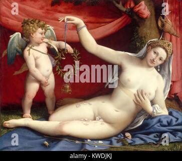 VENUS UND AMOR, von Lorenzo Lotto, 1520 s, italienische Renaissance Malerei, Öl auf Leinwand. Diese Arbeit Stockbild