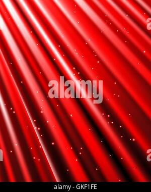 Sterne fallen auf dem Hintergrund der roten Strahlen. Stockbild