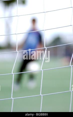 Foto des Fußballs kreative verschwommen schießen Ziel Partitur Schuss Stockbild