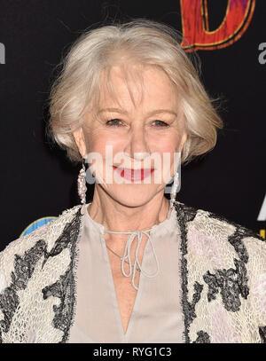 HOLLYWOOD, CA - 11. März: Helen Mirren besucht die Premiere von Disney's 'Dumbo' bei El Capitan Theatre am 11. März 2019 in Los Angeles, Kalifornien. Stockbild