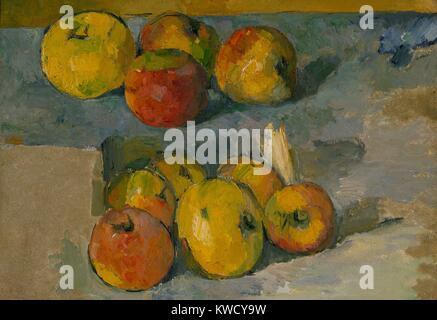 Äpfel, von Paul Cezanne, 1878-79 oder 1883-87, French Post-Impressionist Malerei, Öl auf Leinwand. Cezannes Stockbild
