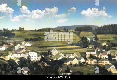 Gebäude in ?eská Lípa Bezirk, Nový Old?ichov, 1912 Postkarten, Ullrichstal, 1912, Glasfabrik Stockbild