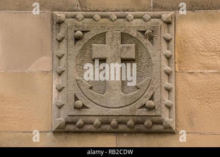 Alte historische Gebäude mit einem aus Stein Anker Stockbild