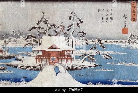 Inokashira keine IKE-benzaiten keine yashiro. Schnee Szene von benzaiten Schrein im Inokashira Teich. zwei Personen über eine Brücke zu einem Gebäude auf einer kleinen Insel während eines Winters Schneesturm. Ukiyo-e (Bilder der fließenden Welt) ist ein Genre der japanischen Kunst, die vom 17. bis 19. Jahrhundert blühte. Ukiyo-e war zentral für die Wahrnehmung des Westens für Japanische Kunst im späten 19. Jahrhundert. Die Landschaft Genre hat kommen die westlichen Auffassungen von Ukiyo-e zu beherrschen. Stockbild