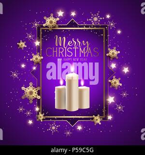 Weihnachten Hintergrund mit Kerzen, Schneeflocken und Sterne Stockbild