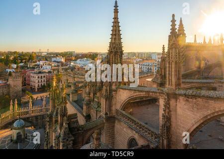 Blick auf das historische Zentrum von Sevilla von der Oberseite der Kathedrale von Sevilla, Sevilla, Andalusien, Spanien, Europa Stockbild