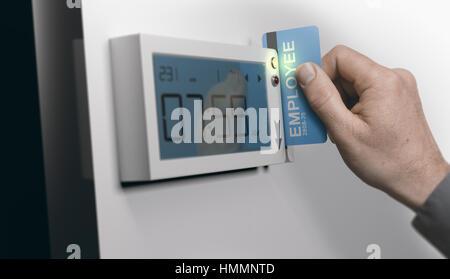 Mitarbeiter streichen persönliche Karte in Streichen-card System, Bild horizontal. Konzept der Pünktlichkeit Stockbild