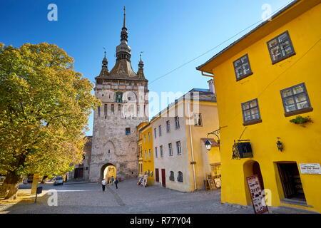 Clock Tower, Sighisoara Altstadt, Siebenbürgen, Rumänien, UNESCO Stockbild