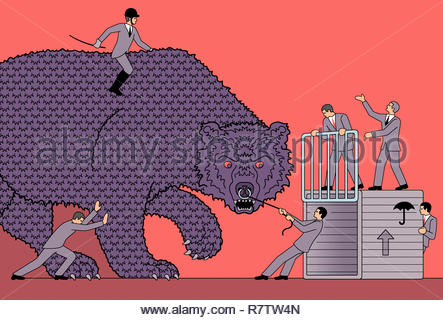 Geschäftsleute in vergeblichen Kampf mit großen aggressive Bär Stockbild