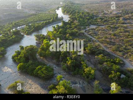 Luftaufnahme von Awash River im Nationalpark, Oromia, Mileso, Äthiopien Stockbild