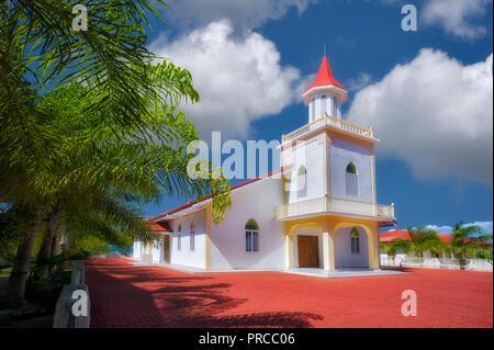 Anau Maohi Prtestant Kirche. Bora Bora. Französisch Polynesien. Stockbild