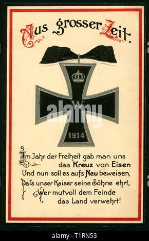 Deutschland, Hessen, Diedenbergen, WK I, in Militärkreisen mail Postkarte mit dem Eisernen Kreuz, 07. 03. 1916 wurde von Hermann Wolff, Berlin. , Additional-Rights - Clearance-Info - Not-Available Stockbild
