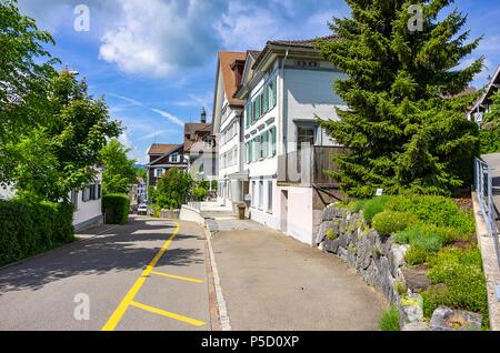 Ruhigen Straße im Dorf von Gais, Kanton Appenzell Ausserrhoden, Schweiz. Stockbild
