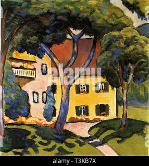 Haus in Tegernsee, 1910. In der Sammlung des Kunstmuseums Mülheim an der Ruhr. Stockbild