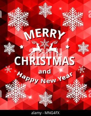 Vektor abstrakte Weihnachtskarte mit Schneeflocken auf einer roten geometrischen Hintergrund. Frohe Weihnachten Schriftzug Stockbild