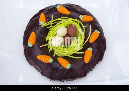 Detail von Ostern Schokolade Kuchen mit Nest und süße Eier in weißen Hintergrund. Stockbild