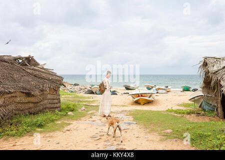 Besuchen Sie die alten Fischerdorf Talawila, Sri Lanka, Asien Stockbild