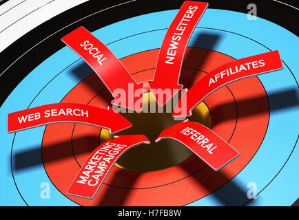 3D Abbildung 6 Pfeile mit Text zeigt das Zentrum eines Ziels, horizontales Bildsymbol für Multi-Channel-Marketing Stockbild