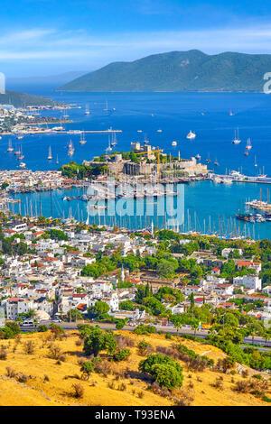 Türkei - Bodrum, die Stadt und den Hafen, Anatolien Stockbild