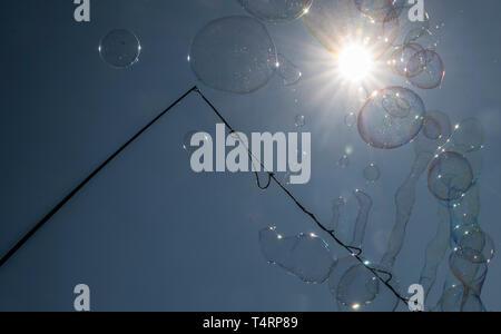 Berlin, Deutschland. 19 Apr, 2019. Eine Seifenblase artist zaubert Seifenblasen in den Himmel gegen das Licht der Sonne. Credit: Paul Zinken/dpa/Alamy leben Nachrichten Stockbild