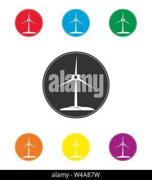 Satz farbiger Windenergieanlage Symbole. Erneuerbare Energien, einfache flache Design Stockbild