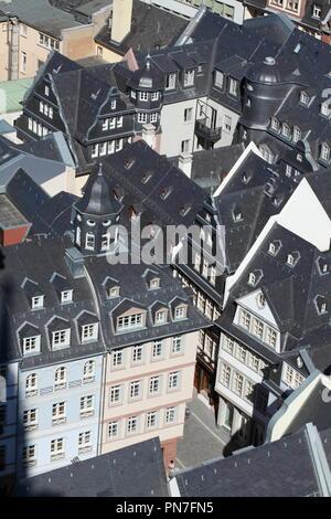 Rekonstruierten historischen Häuser, Blick aus dem Turm der Kathedrale, Römerberg, Altstadt, Frankfurt am Main, Hessen, Deutschland, Europa ich Rekonstruierte historischen Stockbild