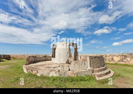 Galle, Sri Lanka, Asien - eine gebrochene alten Geschützturm auf der mittelalterlichen Stadtmauer von Galle Stockbild