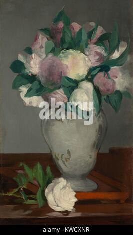 Pfingstrosen, von Edouard Manet, 1864-65, französischer impressionistischer Malerei, Öl auf Leinwand. Stockbild