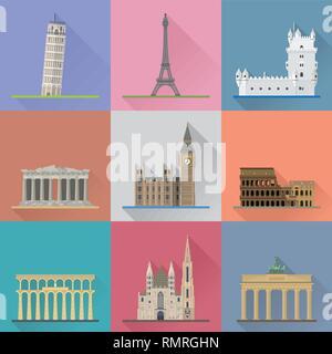Europäische Wahrzeichen flache Bauweise lange Schatten Vector Illustration. Travel Concept. Stockbild