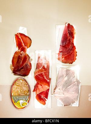 Sandwich-Füllungen, Fleisch. Stockbild