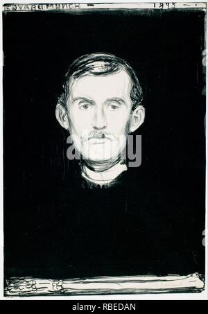 "EDVARD MUNCH (1863-1944), norwegischer Maler. 'Selbst Selbstporträt mit Skelett Arm, 1895"" Stockbild"