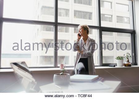 Geschäftsfrau mit Smart Phone im Büro Stockbild