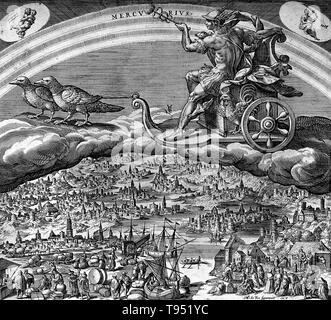Quecksilber in seinem Wagen, über den Himmel. Merkur war ein Bote, die geflügelten Sandalen und ein Gott des Handels, Diebe trug, und Reisen, der Sohn von Maia Maiestas und Jupiter in der römischen Mythologie. Seine Merkmale und Mythologie wurden von den analogen Griechischen Gott Hermes ausgeliehen. Merkur hat die Namen der vielen Dinge, die in einer Vielzahl von wissenschaftlichen Bereichen, wie der Planet Merkur beeinflusst, und das Element Quecksilber. Stockbild