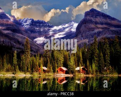 Umkleidekabinen am Lake O'hara. Yoho National Park, Opabin Plateau, British Columbia, Kanada Stockbild