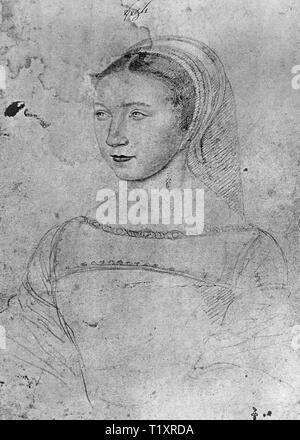 Bildende Kunst, Jean Clouet (1480-1541), Zeichnung, Jossine de Pisseleu, Dame Lenoncourt, Comtesse de Vignory, Porträt, 1535, Musée Condé, Chantilly, Additional-Rights - Clearance-Info - Not-Available Stockbild