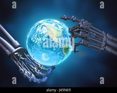 Ein Roboter hält eine Globus-Robotik Technologie Konzept 3D illustration Stockbild