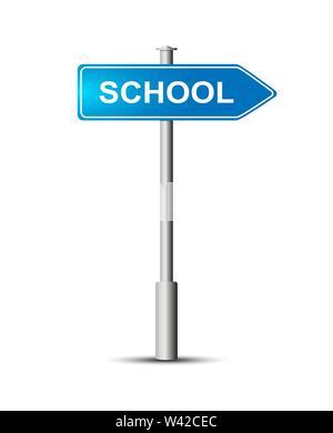 Wegweiser mit der Aufschrift - Schule. Blaue schild Schule auf der Post. Stockbild