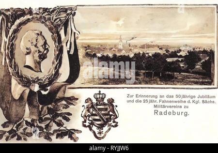 Armee von Sachsen, Wappen in Deutschland, Multiview Postkarten, Texte, 1899, Landkreis Meißen Radeburg, 50. Jubiläum Militärverein Radeburg Stockbild