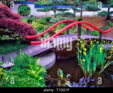 Brücke, Teich und Seerosen. Tilford Park und Garten. Vancouver, BC Stockbild