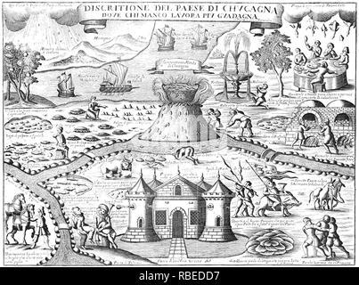 Schlaraffenland mittelalterlichen italienischen Abbildung des mythischen Land der Fülle Stockbild